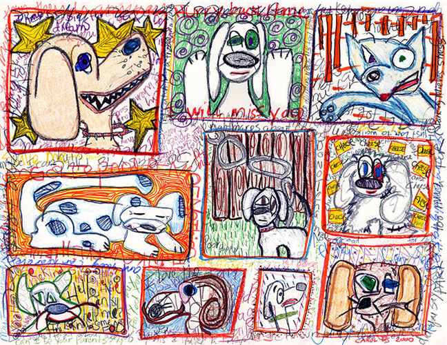 10 Dogs, drawing, Mixed media drawing on paper - Carol Es