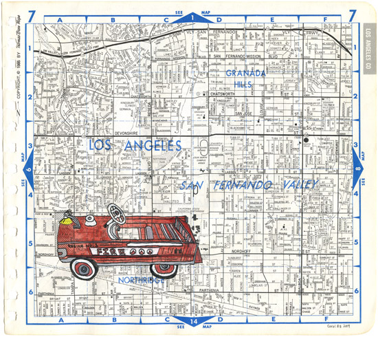 LA Engine 1, painting, Watercolor and ink on Thomas Bros. map page - Carol Es
