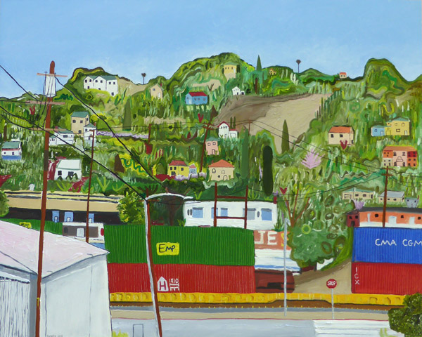 Above Valley Blvd., painting, Oil on gessoboard - Carol Es