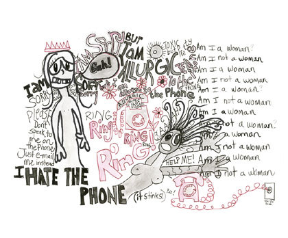 Allergic to the Phone, drawing, Watercolor & ink on paper - Carol Es