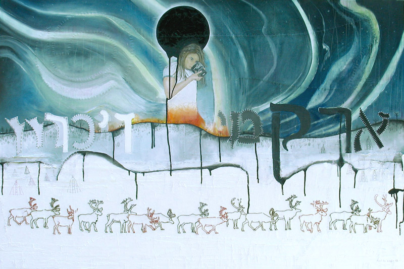 Arctic Memory, painting, Oil, paper patterns, pencil, thread, and embroidery on canvas - Carol Es