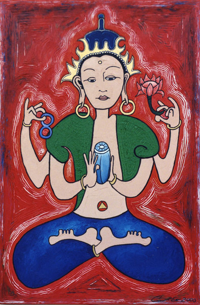 Avalokiteshvara, painting, Oil on canvas - Carol Es