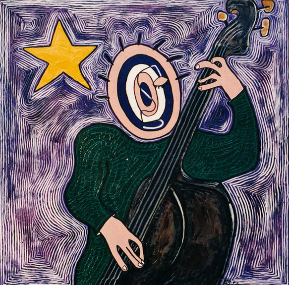 Target Headed Bass Player, painting, Oil on canvas - Carol Es