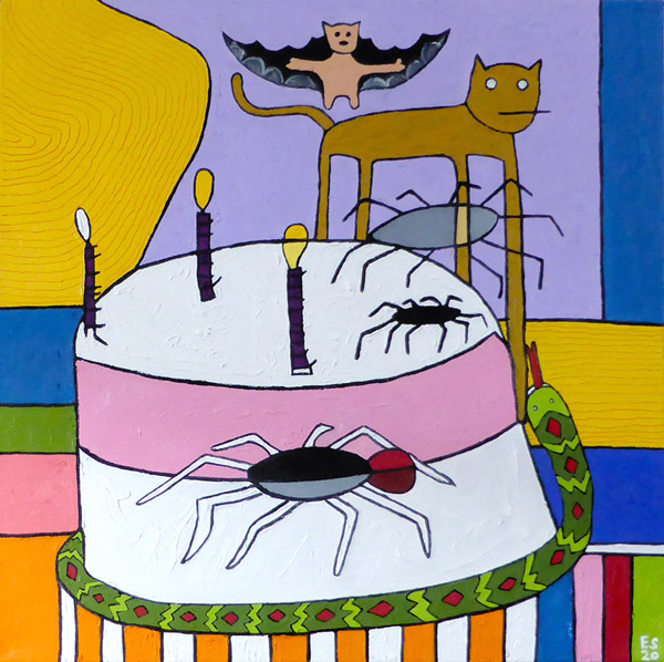 The Bat, the Cat, the Cake, and the Snake, painting, Oil on canvas - Carol Es