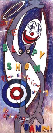 The Bloopy Show, painting, Mixed media oil and collage on wood - Carol Es