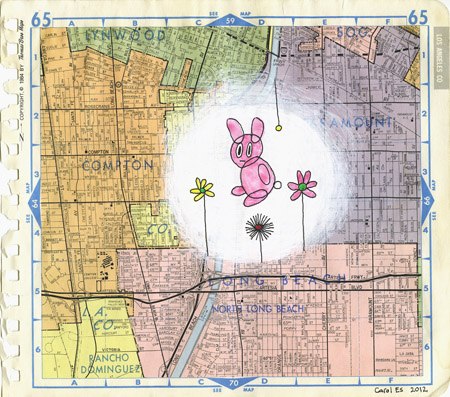Bunny Guy, painting, Acrylic, watercolor, and ink on Thomas Bros. map - Carol Es