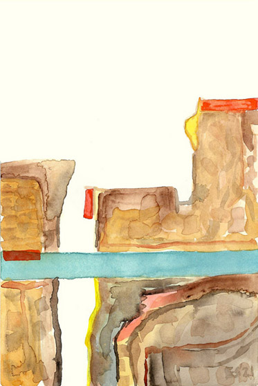 Cliffs, painting, Watercolor on Arches - Carol Es