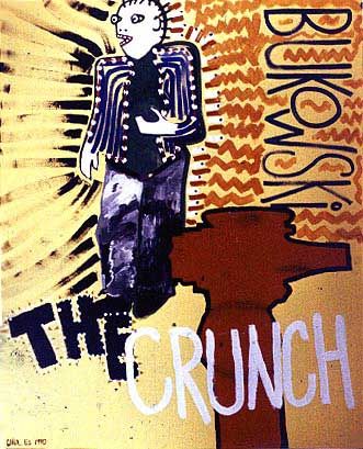 The Crunch, painting, Mixed media acrylic and tempera on illustration board - Carol Es