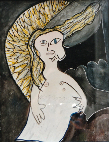 Dead Angel, painting, Mixed media watercolor and tempera on illustration board - Carol Es