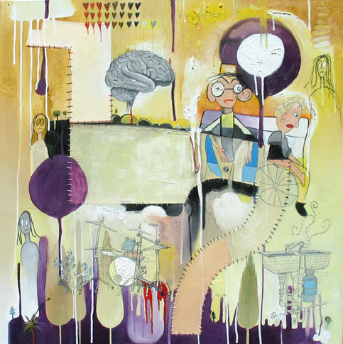 Eves Dilemma, painting, Oil, paper patterns, pencil, and thread on canvas - Carol Es
