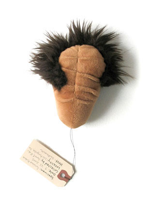 Furrius Nubus, sculpture, Fabric, thread, fur, and stuffing with specimen tag - Carol Es