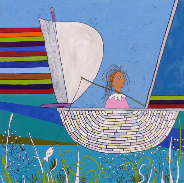 Girl in a Boat, painting, Oil on canvas - Carol Es