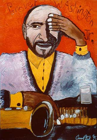 Grover Washington Jr., painting, oil on canvas - Carol Es