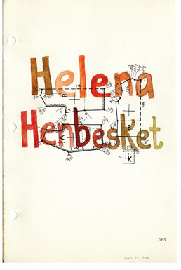 Helena Henbesket, drawing, Watercolor and pencil on American Way book page - Carol Es