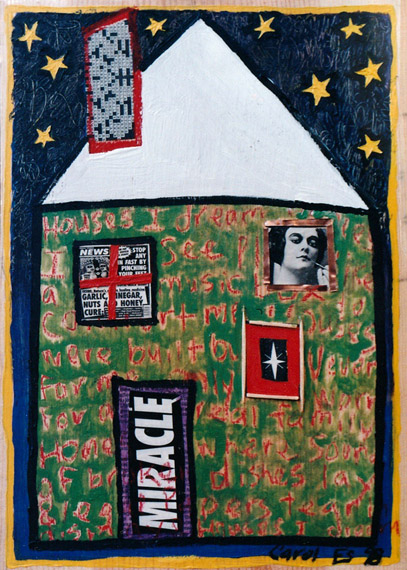 House 1, painting, Mixed media oil and collage on wood - Carol Es