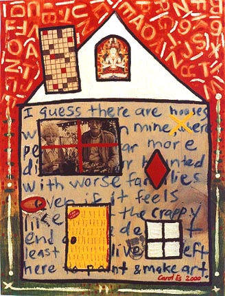 House 10, painting, Mixed media oil and collage on wood - Carol Es