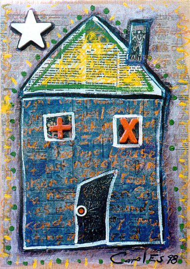 House 3, painting, Mixed media oil and collage on wood - Carol Es
