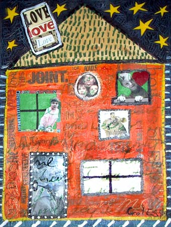 House 5, painting, Mixed media oil and collage on wood - Carol Es