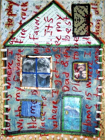 House 6, painting, Mixed media oil and collage on wood - Carol Es