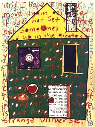 House 7, painting, Mixed media oil and collage on wood - Carol Es
