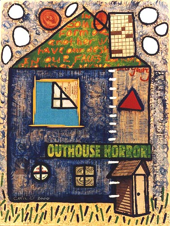 House 9, painting, Mixed media oil and collage on wood - Carol Es