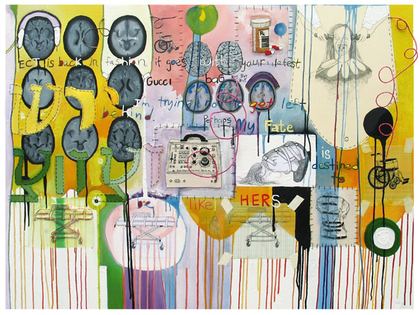 Inherited Shock, painting, Oil, pencil, embroidery, thread, wire, paper, and pins on canvas - Carol Es