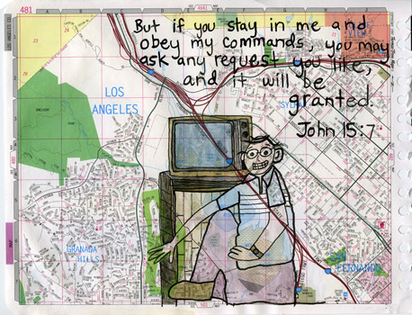 John: 15:7, drawing, Watercolor on Thomas Bros. map page - Carol Es
