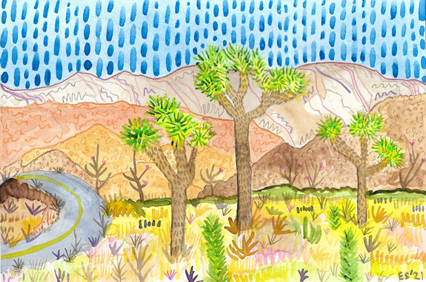 Joshua Tree Park, painting, Watercolor and colored pencil on Arches - Carol Es