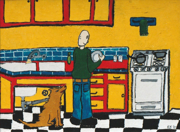 Kitchen, painting, Oil on canvas board - Carol Es