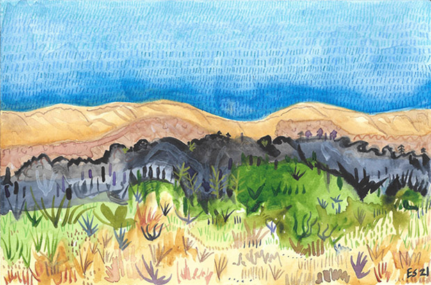 Landscape Study 1, painting, Watercolor and colored pencil on Arches - Carol Es
