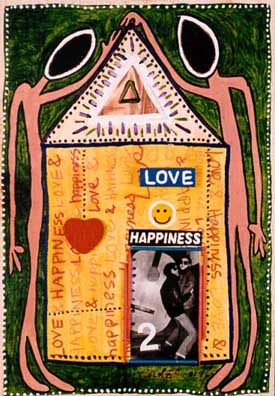 Love & Happiness, painting, oil & collage on wood - Carol Es