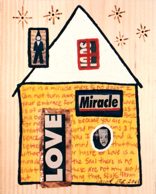 Love House, painting, Oil and collage on wood - Carol Es