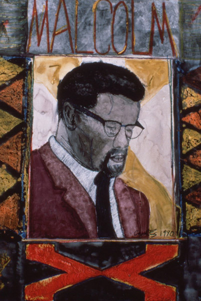 Malcolm X, painting, Mixed media watercolor, tempera, and crayon on illustration board - Carol Es