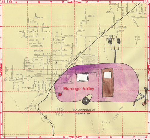 Morongo Valley Trailer, painting, Watercolor and ink on Thomas Bros. map page - Carol Es