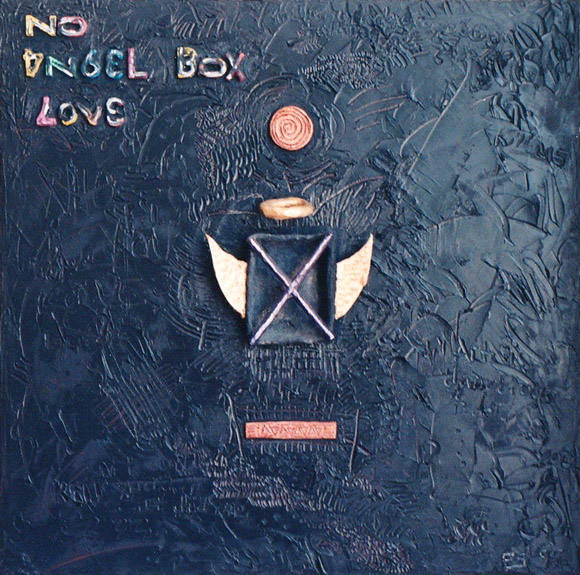 No Angel Box Love, painting, Mixed media oil and handmade collage on canvas - Carol Es