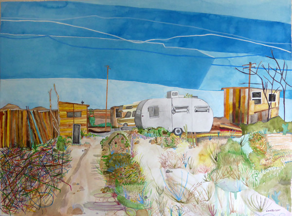 Off the Grid, painting, Watercolor on paper - Carol Es