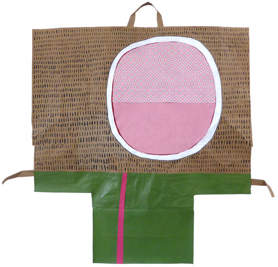 Pinky, painting, Mixed media paint and fabric on paper bag. - Carol Es
