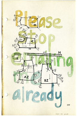 Please Stop, drawing, Watercolor & pencil on American Way book page - Carol Es