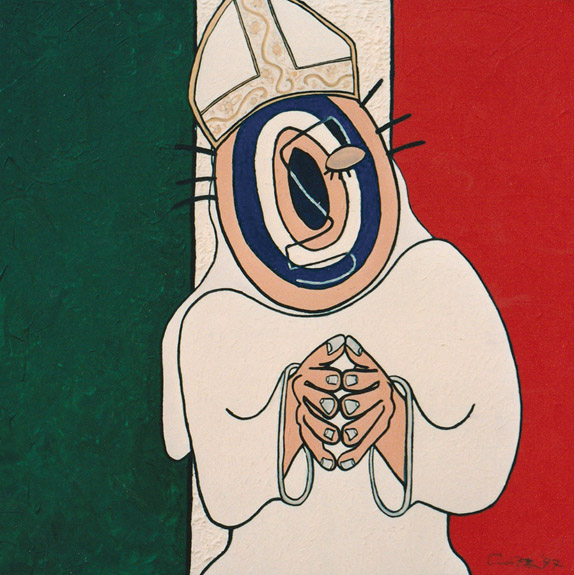 Target Headed Pope, painting, Mixed media oil and collage on canvas - Carol Es