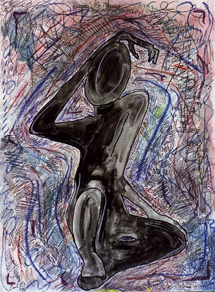 Pose, painting, Mixed media watercolor and crayon on illustration board - Carol Es