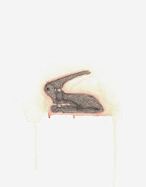Rabbit Hole Punch, drawing, Pencil and watercolor on Illustration board - Carol Es