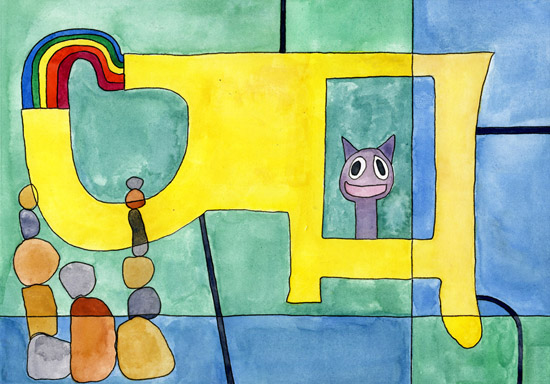 Robin the Cat Again, painting, Watercolor and ink on Arches - Carol Es