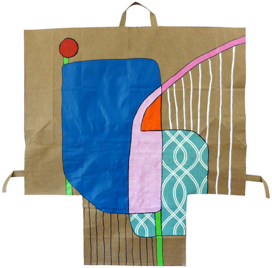 Scrutiny, painting, Mixed media paint and fabric on paper bag. - Carol Es