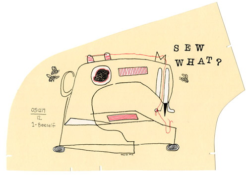 Sew What 2, drawing, Pencil, ink, and gouache on manila pattern paper - Carol Es