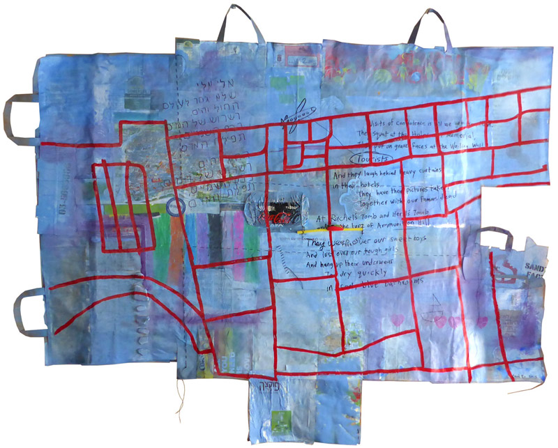She Carries Me Home, painting, Mixed media on paper grocery bags - Carol Es