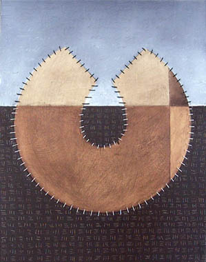 Torrit Positive, painting, Oil, paper patterns, graphite, and thread on canvas - Carol Es