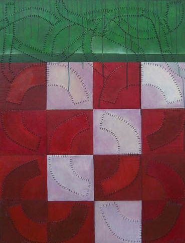 Trim, painting, Oil, patterns, graphite, and thread on canvas - Carol Es