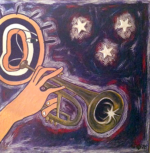 Target Headed Trumpet Player, painting, Mixed media oil and collage on canvas - Carol Es