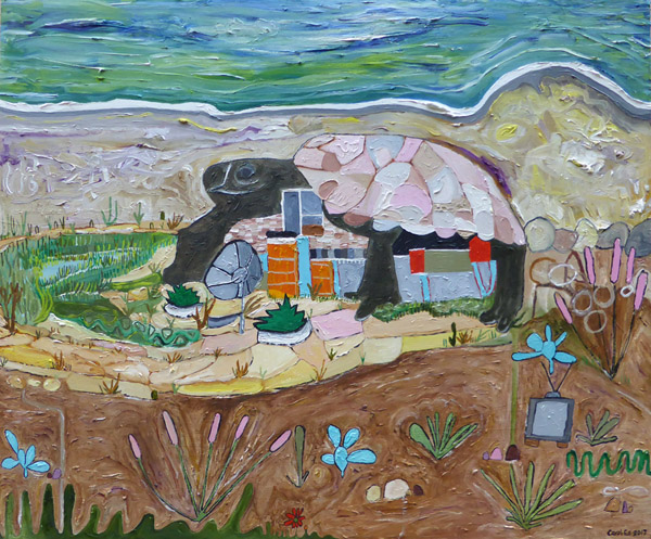 Turtle House, painting, Oil on gessoboard - Carol Es
