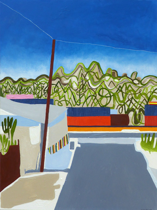 Valley Blvd II, painting, Oil on gessoboard - Carol Es